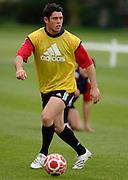 Photo: Richard Lane.<br /> New Zealand Maori training at Rugby School. Barclays Churchill Cup 2007. 21/05/2007.<br /> Maori's Callum Bruce plays football.