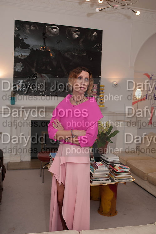VALERIA NAPOLEONE;  , Valeria Napoleone hosts a dinner at her apartment e to celebrate the publication of her book  Valeria Napoleone's Catalogue of Exquisite Recipes. Palace Green. Kensington. London. 28 September 2012.
