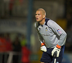 BRISTOL, ENGLAND - Tuesday, September 28, 2010: Bristol Rovers' goalkeeper Mikkel Andersen in action against Tranmere Rovers during the Football League One match at the Memorial Ground. (Photo by David Rawcliffe/Propaganda)