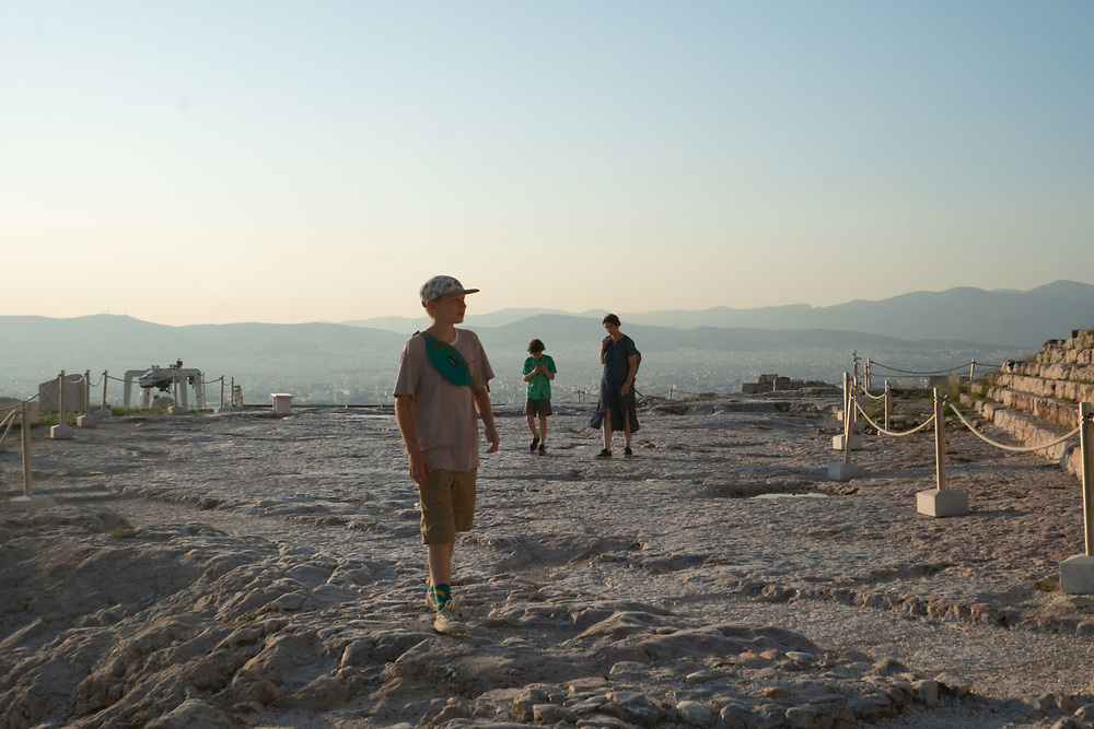 Curran with Max and Alex, Acropolis, Athens, Greece