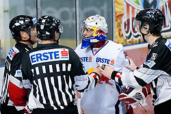 Joshua Tordjman (Red Bull Salzburg, #39) arguing with referees during ice-hockey match between HDD Tilia Olimpija and EC Red Bull Salzburg in 26th Round of EBEL league, on November 27, 2011 at Hala Tivoli, Ljubljana, Slovenia. (Photo By Matic Klansek Velej / Sportida)