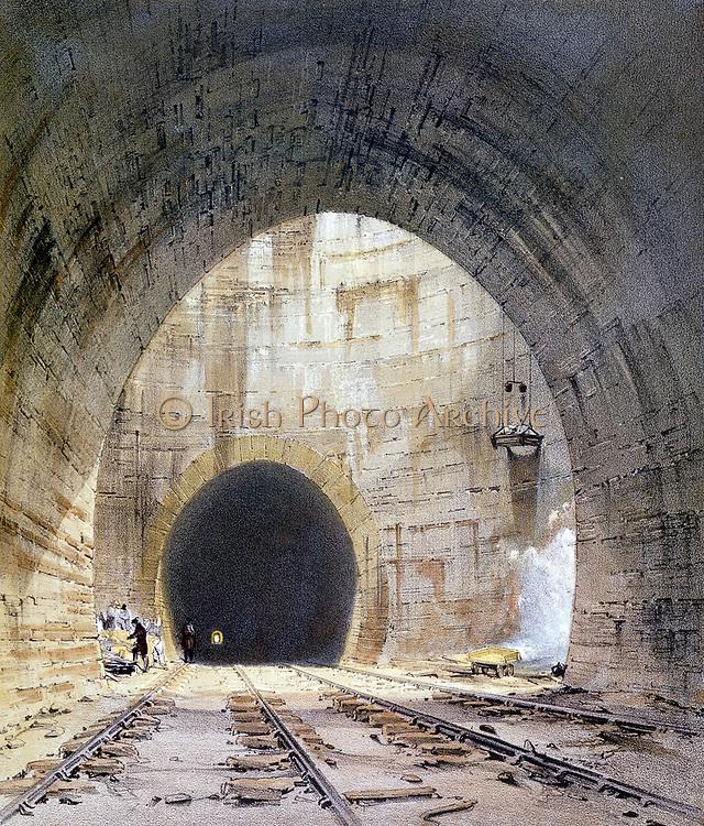 Ventilation shaft on Kilsby Tunnel. Engineer Robert Stephenson. From J Bourne 'Drawings of the London and Birmingham Railway', 1839