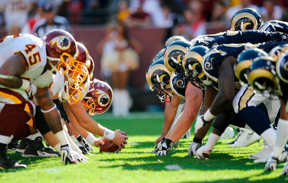 LANDOVER, MD - OCTOBER 12: A general view of the line of scrimmage before a snap during a game between the Washington Redskins and the St. Louis Rams at FedEx Field on October 12, 2008 in Landover, Maryland. The Rams defeated the Redskins 19-17.(Photo by Rob Tringali/Sportschrome/ Images) *** Local Caption ***