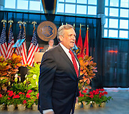 Nassau County Executive Edward Mangano gives State of the County Address, on Wednesday night, March 14, 2012, at Cradle of Aviation museum, Garden City, New York, USA. Mangano (front) was introduced by Legislator Peter Schmidt (at podium) Nassau County Presiding Officer and Majority Leader.