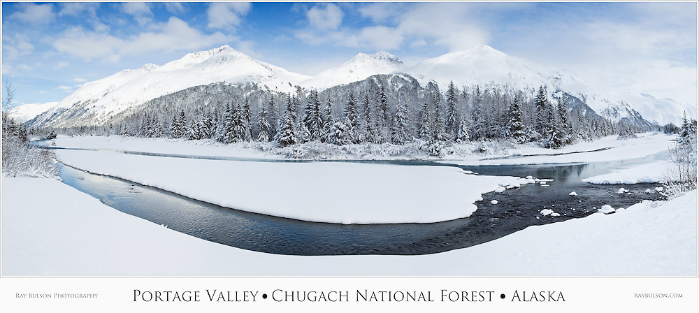 Composite panorama of Portage Creek and Portage Valley in the Chugach National Forest in late winter in Southcentral Alaska. Afternoon.