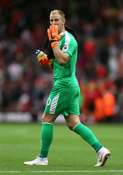 Burnley goalkeeper Joe Hart blows a kiss to the fans at half-time