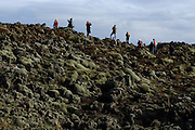 Tourists admire the moss-covered lava fields, just outside Kirkjubaejarklaustur in Southern Iceland