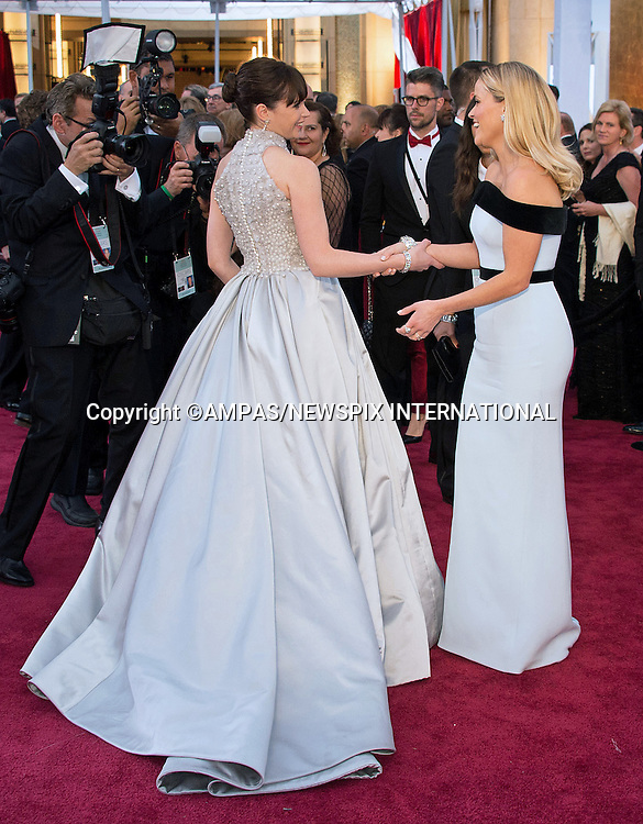 22.02.2015; Hollywood, California: 87TH OSCARS - REESE WITHERSPOON GREETS FELEICITY JONES<br /> Celebrity arrivals at the Annual Academy Awards, Dolby Theatre, Hollywood.<br /> Mandatory Photo Credit: NEWSPIX INTERNATIONAL<br /> <br />               **ALL FEES PAYABLE TO: &quot;NEWSPIX INTERNATIONAL&quot;**<br /> <br /> PHOTO CREDIT MANDATORY!!: NEWSPIX INTERNATIONAL(Failure to credit will incur a surcharge of 100% of reproduction fees)<br /> <br /> IMMEDIATE CONFIRMATION OF USAGE REQUIRED:<br /> Newspix International, 31 Chinnery Hill, Bishop's Stortford, ENGLAND CM23 3PS<br /> Tel:+441279 324672  ; Fax: +441279656877<br /> Mobile:  0777568 1153<br /> e-mail: info@newspixinternational.co.uk