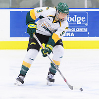 3rd year forward Emma Waldenberger (9) of the Regina Cougars in action during the Women's Hockey Home Game on October 14 at Co-operators arena. Credit: Arthur Ward/Arthur Images