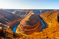 Panoramic view from Goosenecks State Park, near Mexican Hat, Utah. 1,000 feet below, the San Juan River winds its way through the canyon.