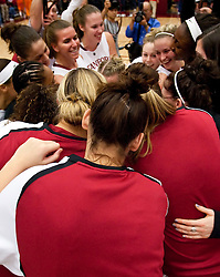 December 19, 2009; Stanford, CA, USA;  The Stanford Cardinal celebrate after defeating the Tennessee Lady Volunteers after the game at Maples Pavilion.  Stanford defeated Tennessee 67-52.