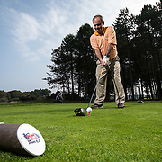 Competitor tees off at the Red Bull Final 5 event at Archerfield Links, North Berwick, Scotland on 13th September, 2014