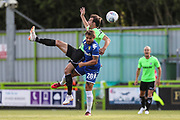 \f9 is upended by Leeds United's Gaetano Berardi(28) during the Pre-Season Friendly match between Forest Green Rovers and Leeds United at the New Lawn, Forest Green, United Kingdom on 17 July 2018. Picture by Shane Healey.