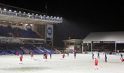 A general view of play as snow covers the pitch - Mandatory by-line: Joe Dent/JMP - 27/02/2018 - FOOTBALL - ABAX Stadium - Peterborough, England - Peterborough United v Walsall - Sky Bet League One