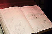 New York, NY - 27 May 2014. The reservation book at The Simone is kept manually, in a ledger.