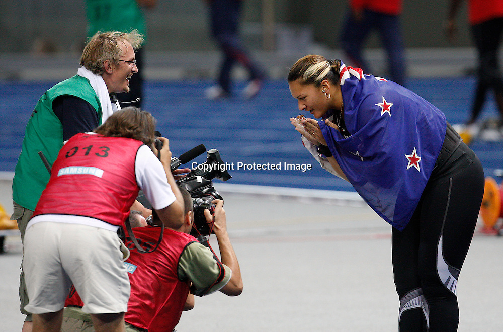 BERLIN 16 August 2009. 12th IAAF World Championships in Athletics Berlin 2009. Valerie Vili of New Zealand reacts after winning the women's shot put final during the world athletics championships at the Olympic stadium in Berlin .<br />