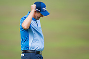 Padraig Harrington of Ireland smiles at the crowd and fist pumps during the British Masters 2018 at Walton Heath Golf Course, Walton On the Hill, Surrey on 12 October 2018. Picture by Martin Cole.