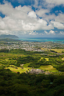 Looking out toward Kaneohe from the Pali Lookout, Oahu, Hawaii