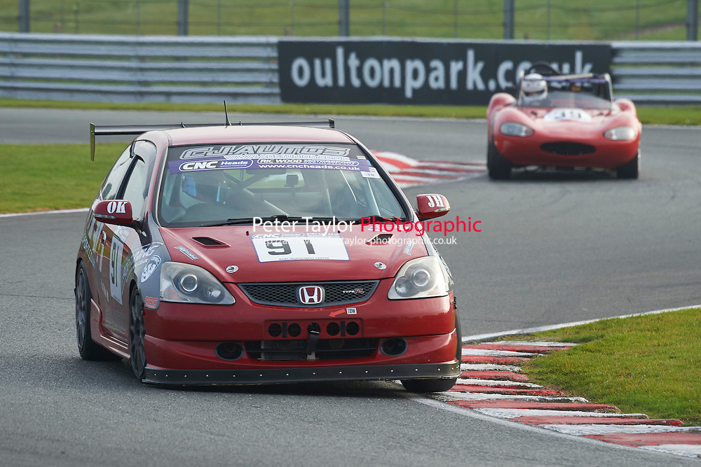 #91 Chris GRIMES Honda Civic during CNC Heads Sports/Saloon Championship - Race 2  as part of the BARC Championships Race Day at Oulton Park, Little Budworth, Cheshire, United Kingdom. October 03 2015. World Copyright Taylor/PSP. Copy of publication required for printed pictures.  Every used picture is fee-liable. http://archive.petertaylor-photographic.co.uk