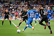 Peterborough United midfielder Siriki Dembele (10) gets in a cross during the EFL Sky Bet League 1 match between Peterborough United and Portsmouth at London Road, Peterborough, England on 15 September 2018.