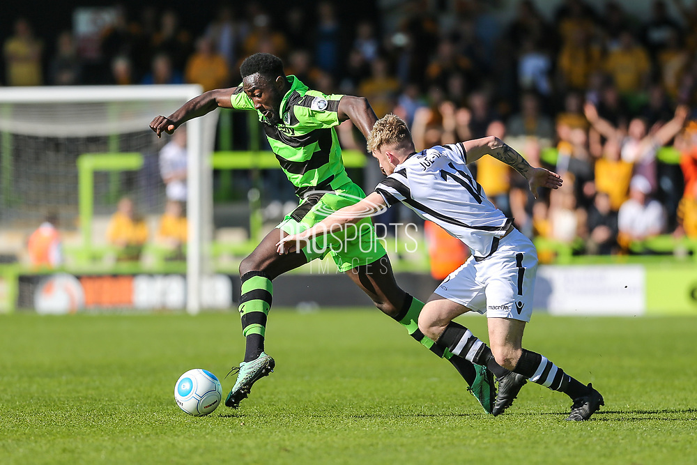 Forest Green Rovers Manny Monthe(3) runs forward during the Vanarama National League match between Forest Green Rovers and Maidstone United at the New Lawn, Forest Green, United Kingdom on 22 April 2017. Photo by Shane Healey.