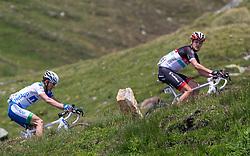 04.07.2012, Osttirol, AUT, 64. Oesterreich Rundfahrt, 4. Etappe, Lienz - St. Johann Alpendorf, im Bild Jakob Fuglsang (DEN, Radioshack-Nissan) (vorne) und Leopold Koenig (CZE, Team Netapp) (hinten) // Radioshack-Nissan driver Laurent Didier of Luxembourg (V) Team Netapp driver Leopold Koenig of Czech Republic during the 64rd Tour of Austria, Stage 4, from Lienz to St. Johann Alpendorf, Lienz, Austria on 2012/07/04. EXPA Pictures © 2012, PhotoCredit: EXPA/ Johann Groder