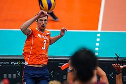 09-08-2019 NED: FIVB Tokyo Volleyball Qualification 2019 / Netherlands, - Korea, Rotterdam<br /> First match pool B in hall Ahoy between Netherlands - Korea for one Olympic ticket / Maarten van Garderen #3 of Netherlands