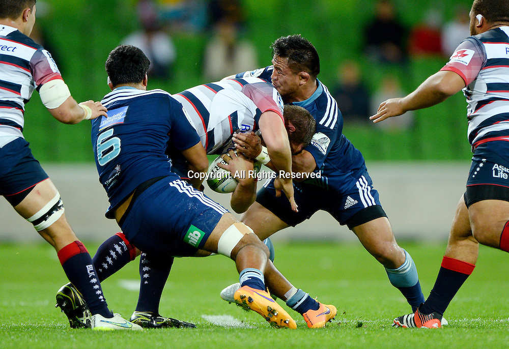 Defence (Blues)<br /> Auckland Blues vs Melbourne Rebels<br /> Rugby Union - 2015 Investec Super Rugby <br /> AAMI Park, Melbourne Australia<br /> Friday 8th May 2015<br /> &copy; Sport the library / Jeff Crow