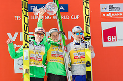 Second placed in Overall World Cup classification Severin Freund (GER), winner Peter Prevc (SLO) and third placed Kenneth Gangnes (NOR) celebrate during trophy ceremony after the Ski Flying Hill Individual Competition at Day 4 of FIS Ski Jumping World Cup Final 2016, on March 20, 2016 in Planica, Slovenia. Photo by Vid Ponikvar / Sportida