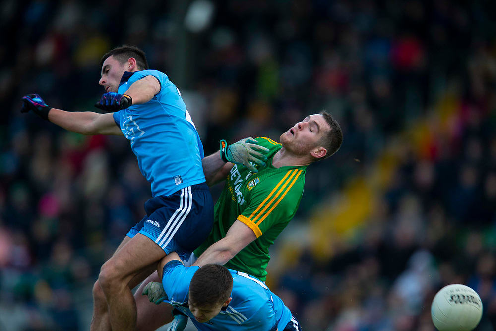 16/12/2018, Meath vs Dublin senior football charity game in Pairc Tailteann <br /> Bryan Menton (Meath) & Niall Scully / Eoin Murchan (Dublin)<br /> David Mullen / www.cyberimages.net<br /> ISO: 1250; Shutter: 1/1250; Aperture: 4; <br /> File Size: 2.8MB