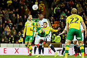 Norwich City midfielder Emi Buendia (17)  with an overhead kick during the EFL Sky Bet Championship match between Norwich City and Blackburn Rovers at Carrow Road, Norwich, England on 27 April 2019.