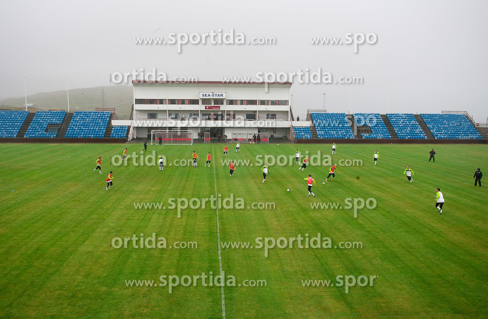 Stadium Svangaskard during practice session of Slovenian National football team 1 day before EURO 2012 Qualifications game against Faroe Islands, on June 2, 2011 in Stadium Svangaskard, Toftir, Faroe Islands. (Photo By Vid Ponikvar / Sportida.com)