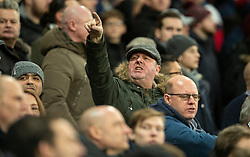 LONDON, ENGLAND - Wednesday, January 29, 2020: A West Ham United supporter gestures towards the Liverpool fans during the FA Premier League match between West Ham United FC and Liverpool FC at the London Stadium. (Pic by David Rawcliffe/Propaganda)