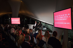 © Licensed to London News Pictures. 04/10/2017. London, UK. Hans Ulrich Obrist (L) introduces Marina Abramovic at 'Artist Talks' hosted by Fondation Beyeler and UBS. Held at the Serpentine Galleries, the event heralds the start of Frieze Art Week. Photo credit: Peter Macdiarmid/LNP