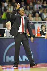 25.02.2014, Audi Dome, Muenchen, GER, Beko Basketball BL, FC Bayern Muenchen Basketball vs Artland Dragons, 22. Runde, im Bild Tyron McCoy, Head Coach (Artland Dragons), Einzelbild // during the Beko Basketball Bundes league 22. round match between FC Bayern Munich Basketball and Artland Dragons at the Audi Dome in Muenchen, Germany on 2014/02/25. EXPA Pictures © 2014, PhotoCredit: EXPA/ Eibner-Pressefoto/ Buthmann<br /> <br /> *****ATTENTION - OUT of GER*****