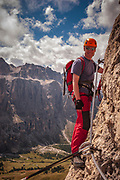 Joy of being up a rock face in the Dolomites
