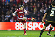 Middlesbrough FC midfielder Grant Leadbitter (7) hits the bar from a free kick during the Sky Bet Championship match between Middlesbrough and Nottingham Forest at the Riverside Stadium, Middlesbrough, England on 23 January 2016. Photo by George Ledger.
