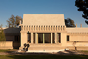 Elevation of living room. The Aline Barnsdall Hollyhock House, East Hollywood, Los Angeles, California USA designed by architect Frank Lloyd Wright 1919-1921