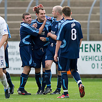 Forfar v Ayr United...16.10.10  <br /> Martyn Fotheringham celebrates his penalty<br /> Picture by Graeme Hart.<br /> Copyright Perthshire Picture Agency<br /> Tel: 01738 623350  Mobile: 07990 594431
