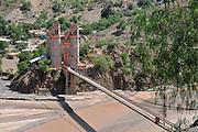 Restored suspension bridge between Chuquisaca and Potosi departments in Bolivia