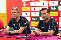 HONG KONG, CHINA - Thursday, June 6, 2019: Liverpool Legends' Stephane Henchoz (L) and Vladimir Smicer during a press conference at the Hong Kong Stadium ahead of an exhibition match between Liverpool FC and Borussia Dortmund. (Pic by Jayne Russell/Propaganda)