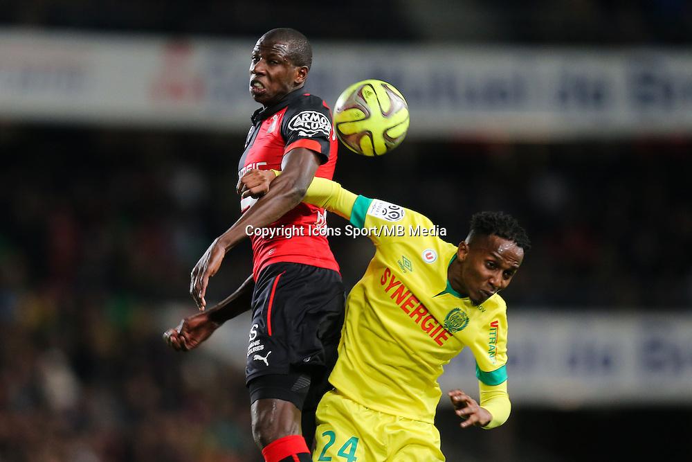 Abdoulaye DOUCOURE / Chaker ALHADHUR - 21.03.2015 - Rennes / Nantes - 30eme journee de Ligue 1<br />Photo : Vincent Michel / Icon Sport