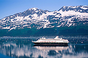 "Alaska. Prince William Sound. College Fjord. Holland America cruise ship ""Ryndam""."