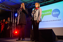 London, UK. 15th January, 2019. Chuka Umunna, Labour MP for Streatham, sharing the stage with Anna Soubry, Conservative MP for Broxtowe, addresses pro-EU activists attending a People's Vote rally in Parliament Square as MPs vote in the House of Commons on Prime Minister Theresa May's proposed final Brexit withdrawal agreement.