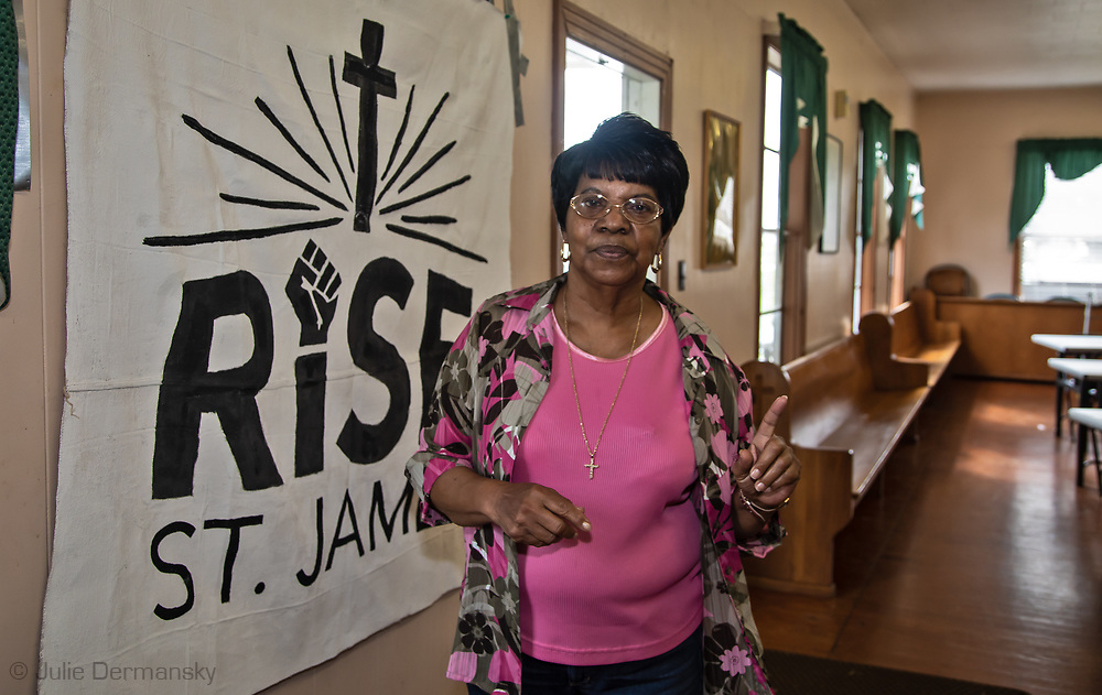 Geraldine Mayho at a Rise St. James meeting in St. James, Louisiana.