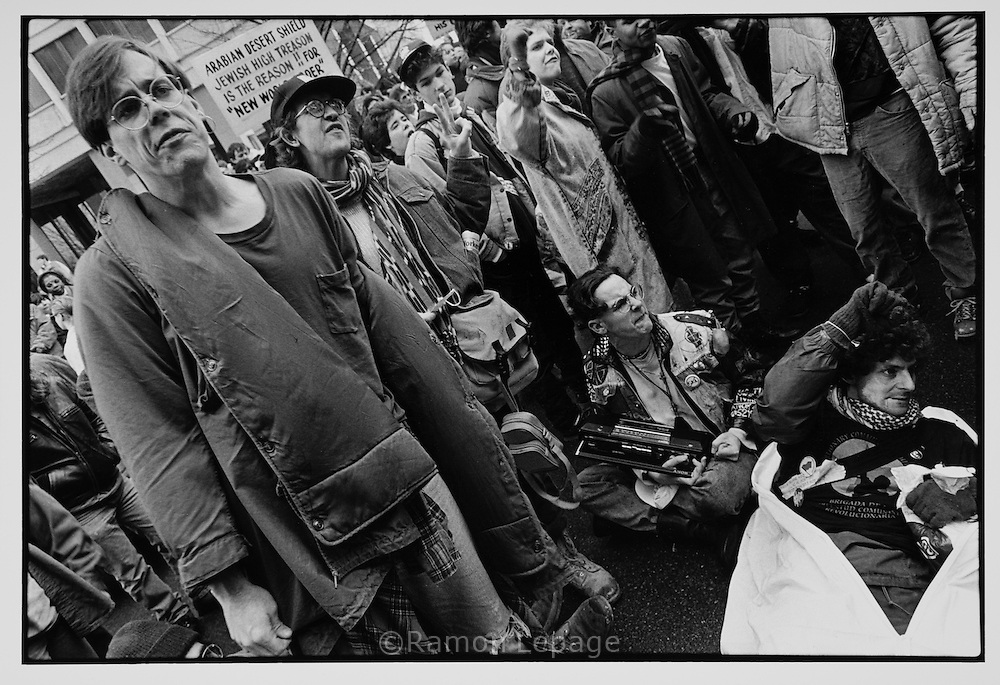 Anti war protesters against the Gulf War on Iraq. Boston, 1992..