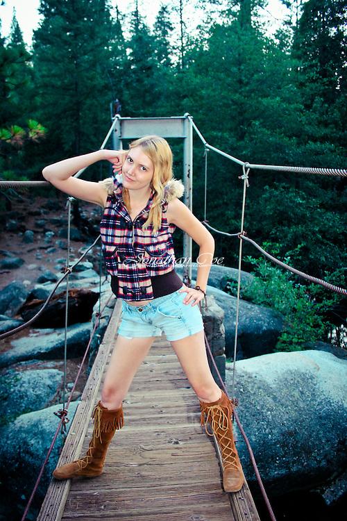 Model: Jessie James Hollywood<br /> Location: Swinging Bridge, Yosemite National Park