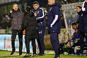 Bristol Rovers Manager Ben Garner gestures to the official during the EFL Sky Bet League 1 match between Bristol Rovers and AFC Wimbledon at the Memorial Stadium, Bristol, England on 26 December 2019.