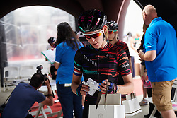 Hannah Barnes (GBR) checks out her pre-race goody bag ahead of Stage 7 of 2019 Giro Rosa Iccrea, a 128.3 km road race from Cornedo Vicentino to San Giorgio di Perlena, Italy on July 11, 2019. Photo by Sean Robinson/velofocus.com