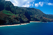 Honopu Beach & Valley, Napali Coast, Kauai, Hawaii,  USA<br />
